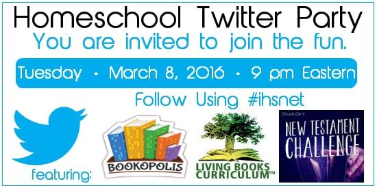 Join us for a Homeschool Twitter Party 3•8•16 at 9 p.m. Eastern follow #ihsnet | @iHomeschoolNet
