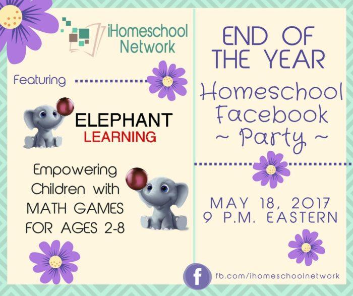End of the Year Homeschool Facebook Party featuring @ElephantLearning  iHomeschool Network #ihsnet