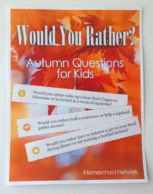 Would You Rather? Autumn Themed Questions for Kids...free download!