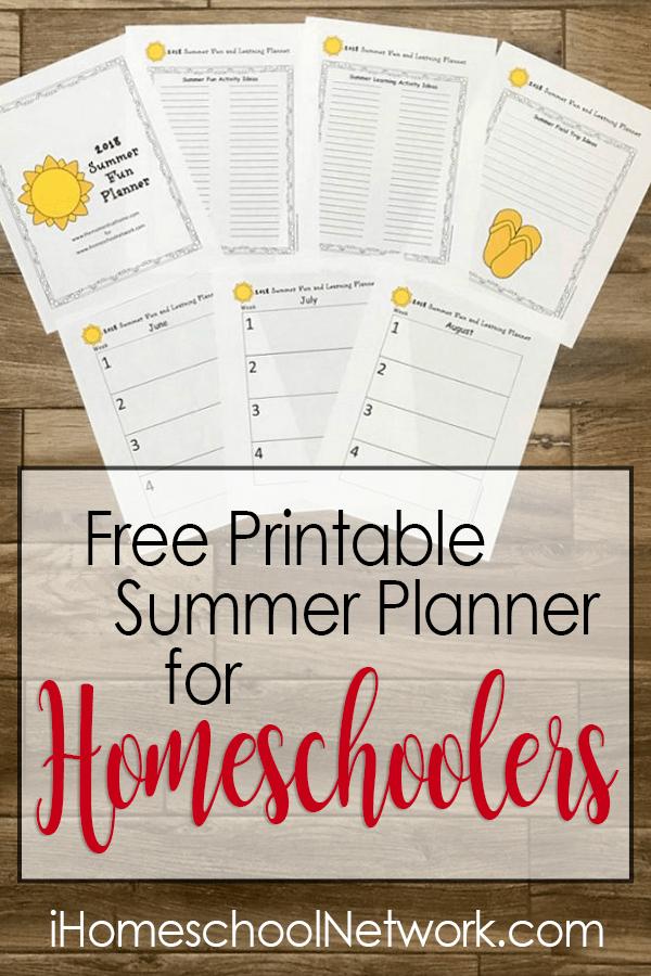 Free Printable Summer Planner for Homeschoolers