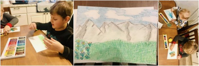 Collage of 3 photos. First photo is of boy trying out oil pastels, middle photo is of an oil pastel drawing of a field, mountains, and the sky. The third photo is of 2 boys sitting at a table using watercolor paints. Teach art by exploring different mediums.