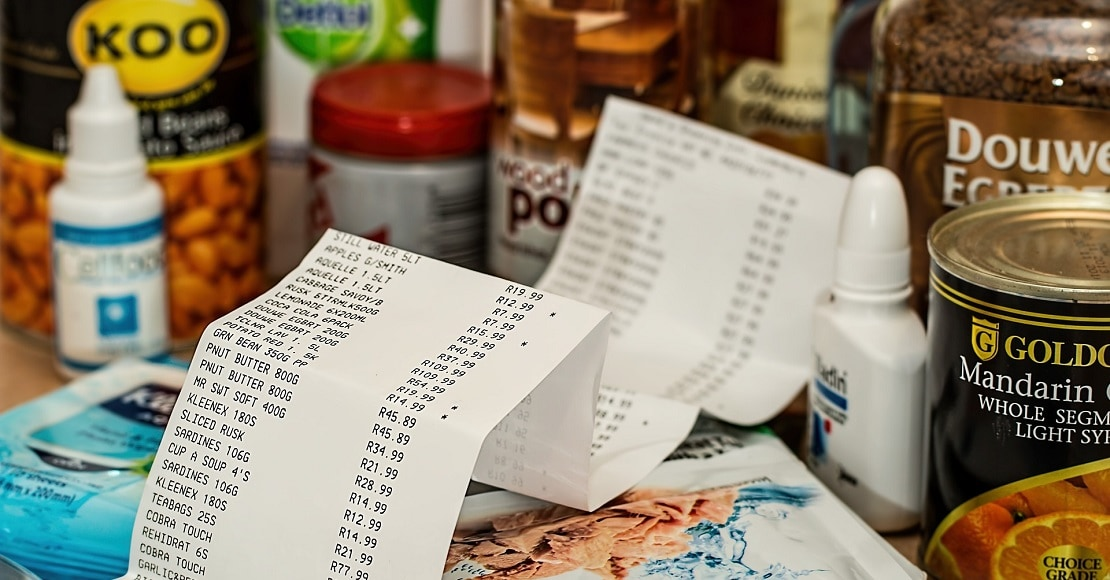 shopping docket with food