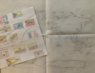 An Easy Way to Teach Art is Tracing and Using Maps Like the Maps and Flags Pictured Here